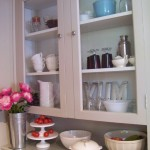 cottage kitchen hutch with vintage dishes