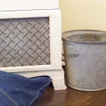 vintage cabinet and galvanized bucket