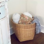 vintage basket filled with pillows
