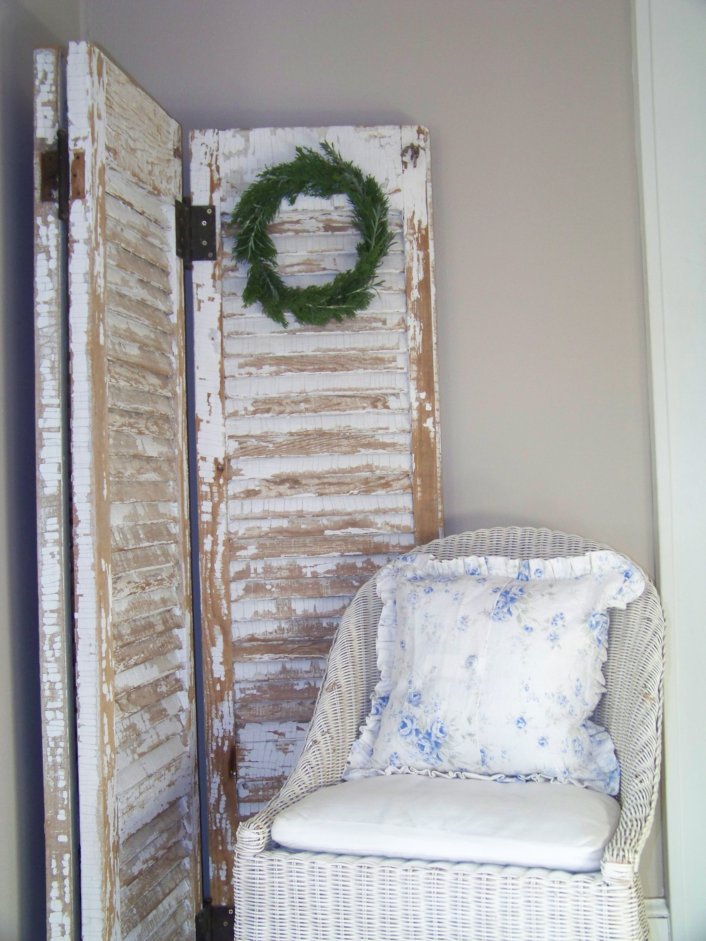 shutters with fresh wreath