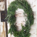 holiday wreath of fresh evergreen, rosemary, and lavender