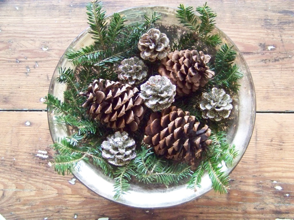 Cottage Fix - Sparkly pine cones in a mercury glass bowl
