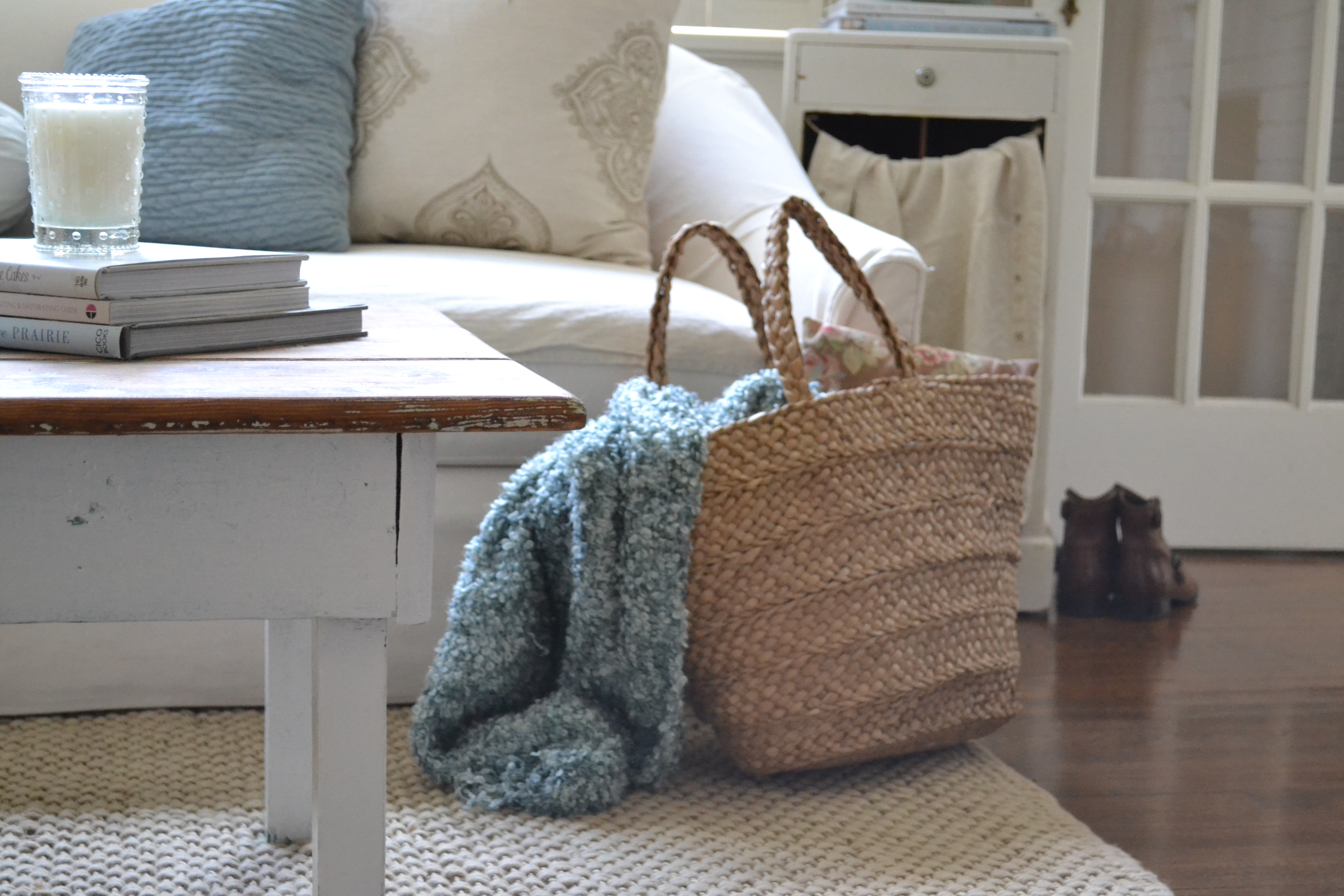 cottage living room with blue and taupe