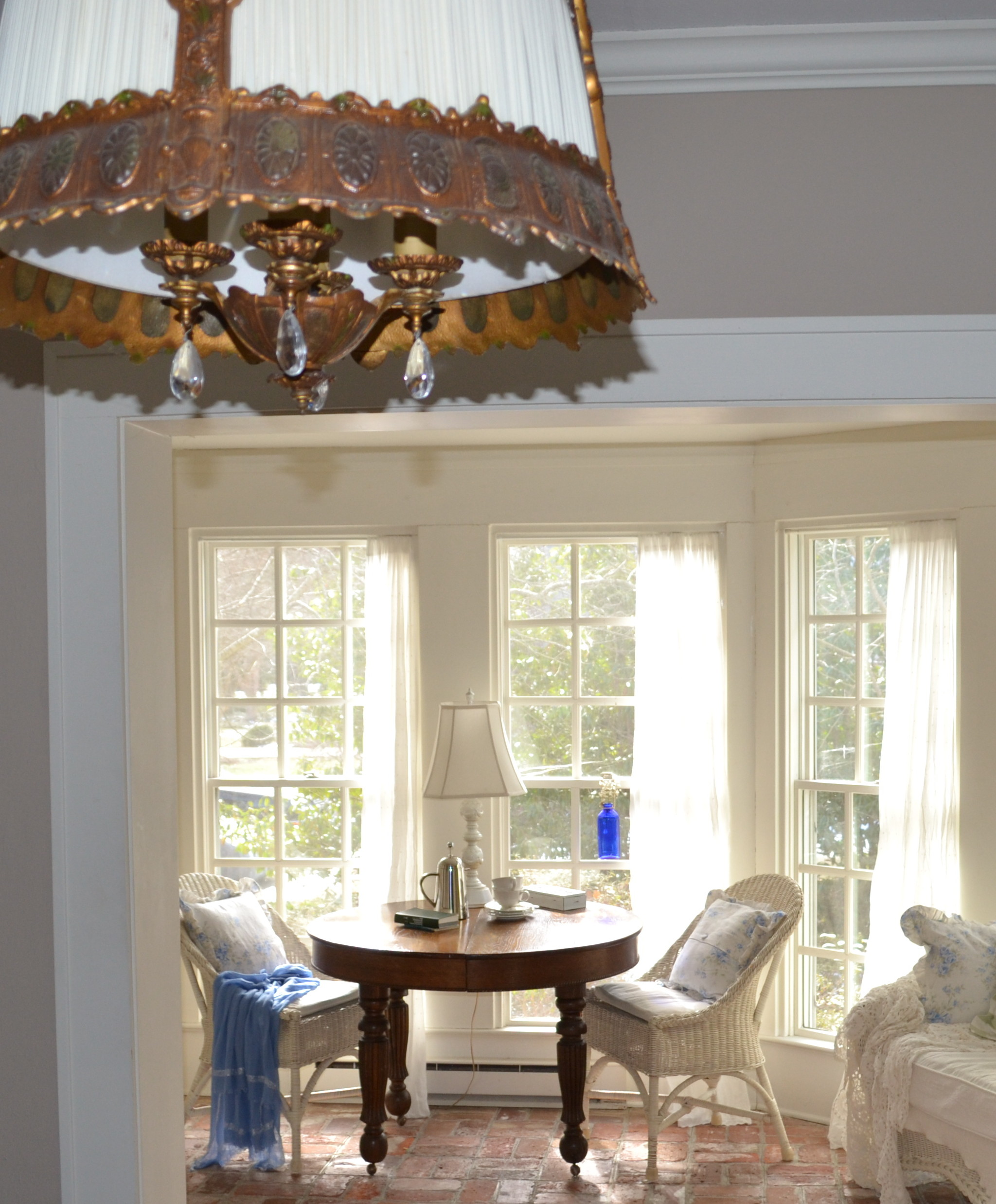wicker chairs move to the sunroom