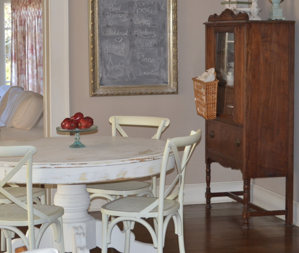 cottage dining room with white painted table