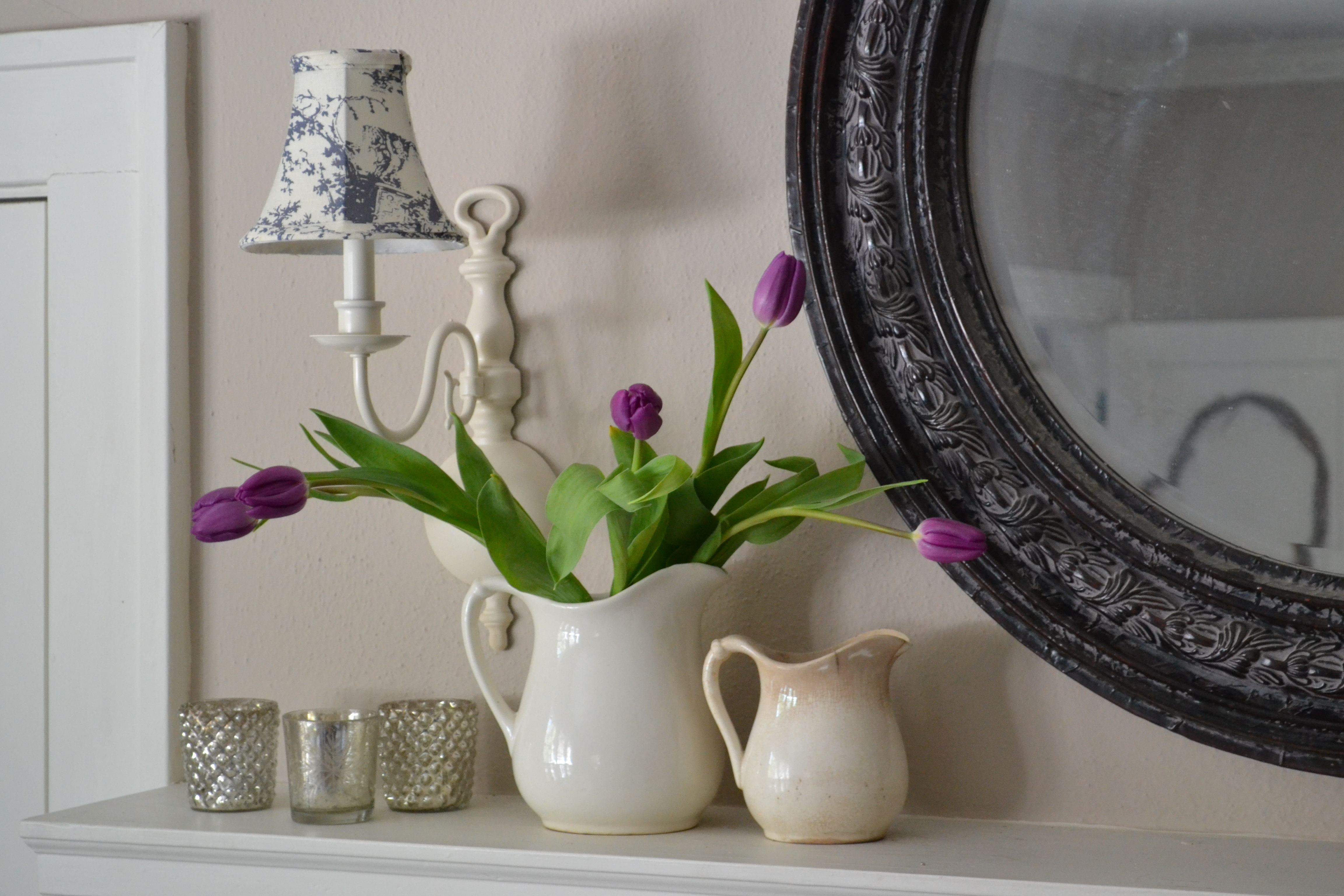purple tulips & a Spring mantel