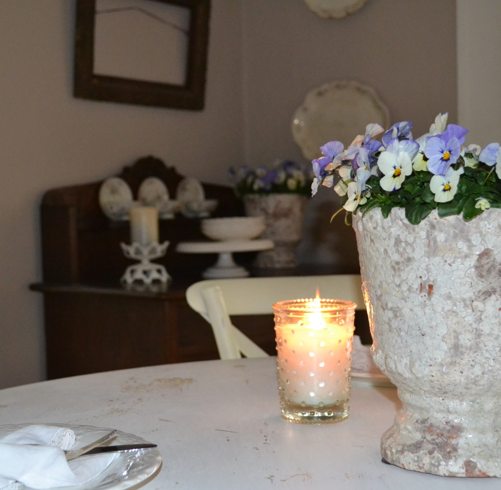 chippy clay pots in the dining room