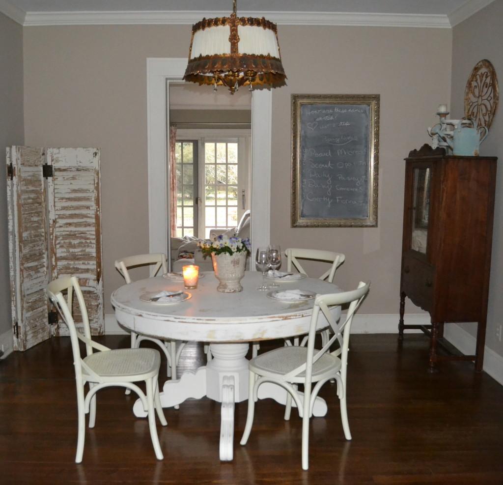 cottage dining room with purple violas