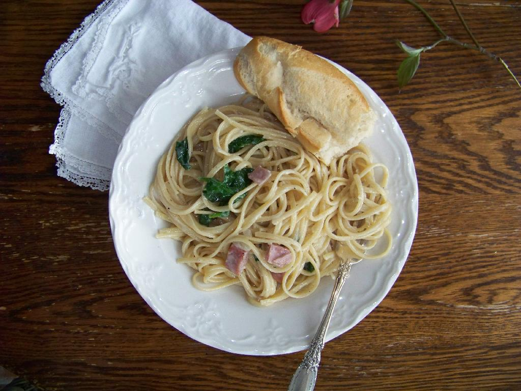 pasta with ham and spinach recipe