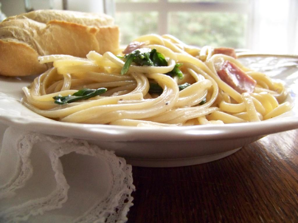 a Spring pasta dish with ham and spinach, yum!