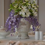 a whimsical centerpiece with fresh garden flowers