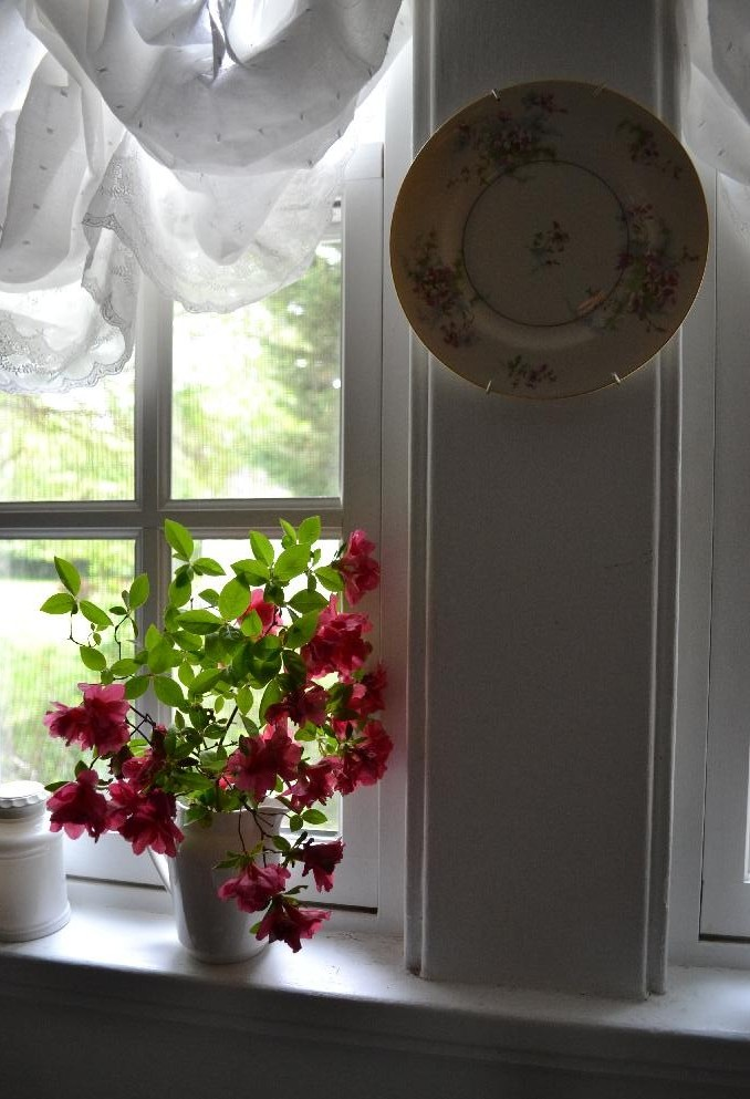 shabby chic window treatments in the kitchen