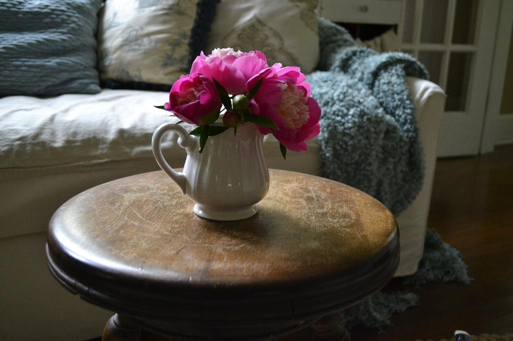 Cottage Fix -pink peonies on a vintage piano seat