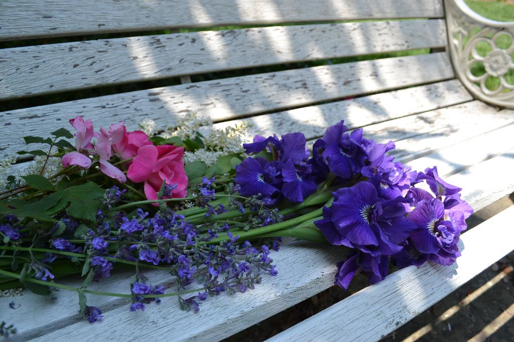 purple irises and pink roses on our shabby vintage bench