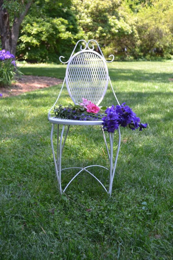 vintage outdoor chair on the lawn