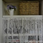 organize your bookcase with baskets and lace