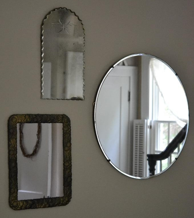Cottage Fix -vintage mirror grouping for shabby cottage style
