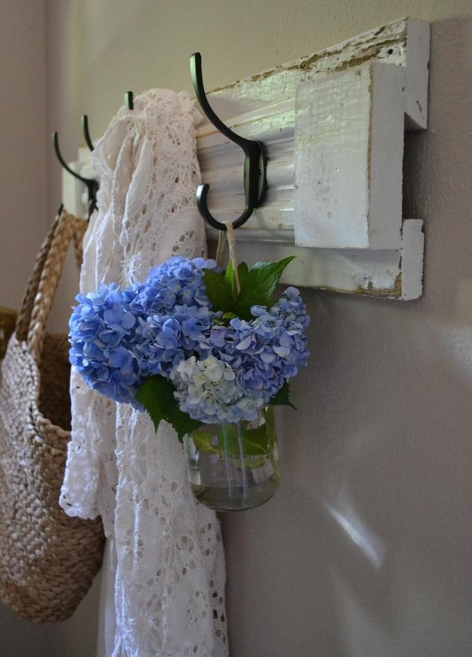 Cottage Fix blog - hydrangeas from the garden in a hanging jar