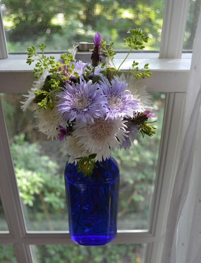 Cottage Fix blog - purple and white garden blooms in a jar hanging from the window