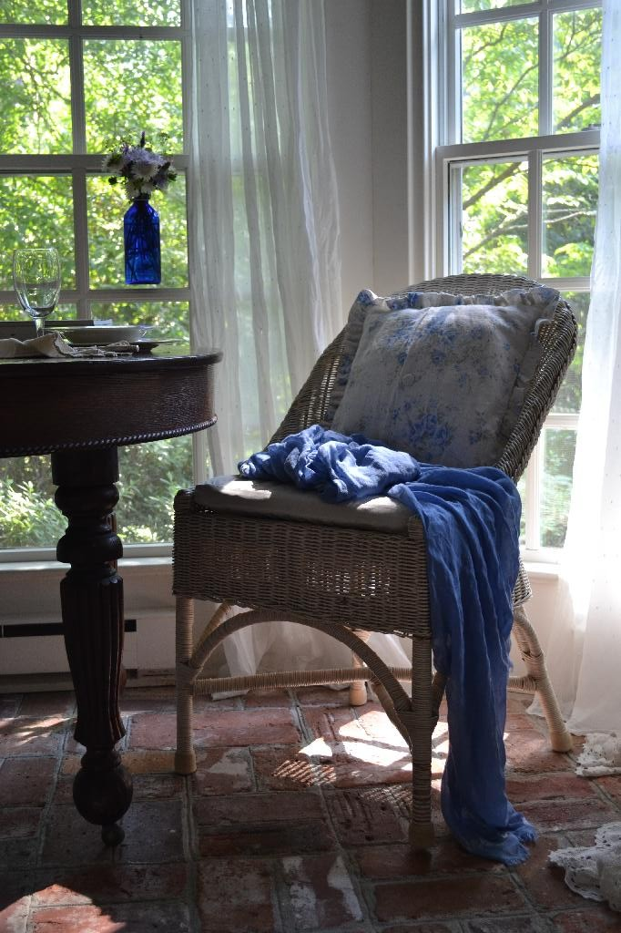Cottage Fix -sun porch with blue accessories for summer