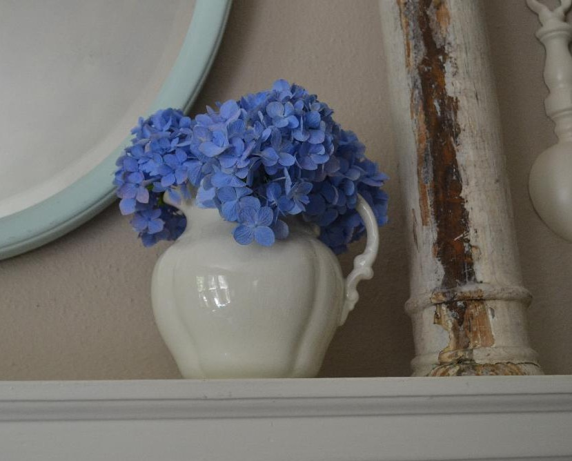 Cottage Fix -blue hydrangea bloom on the mantle