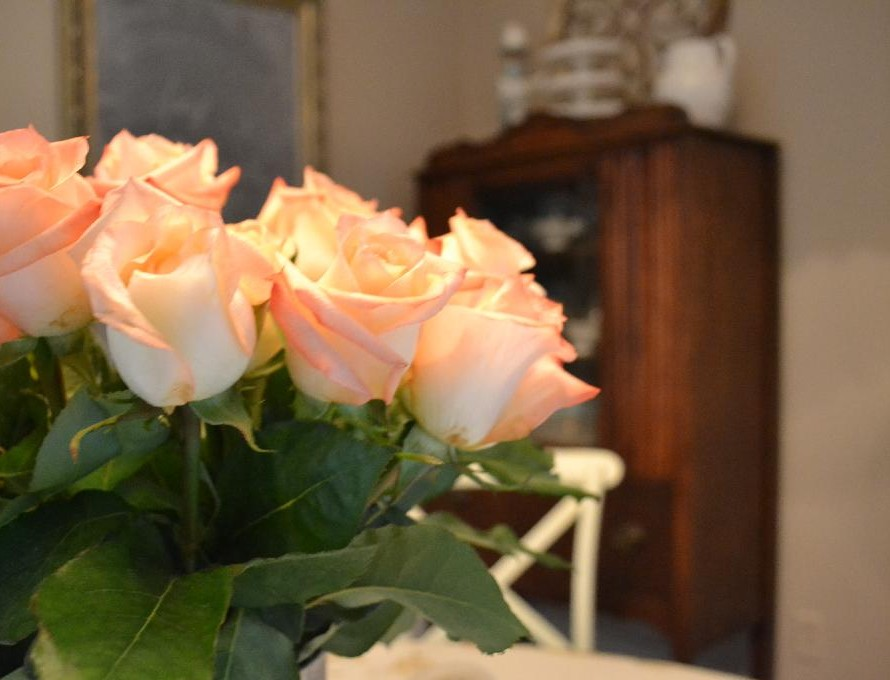 Cottage Fix - bright peach roses