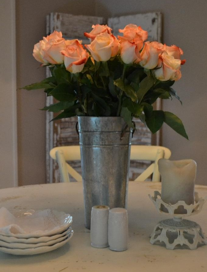 Cottage Fix - Peachy rose centerpiece
