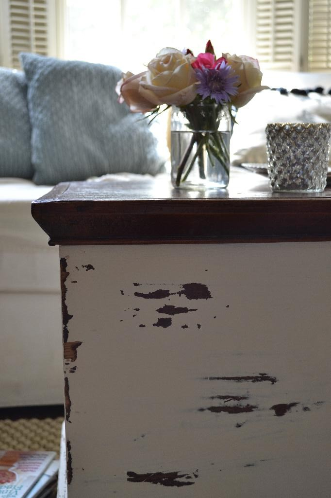 Cottage Fix - chippy white painted trunk