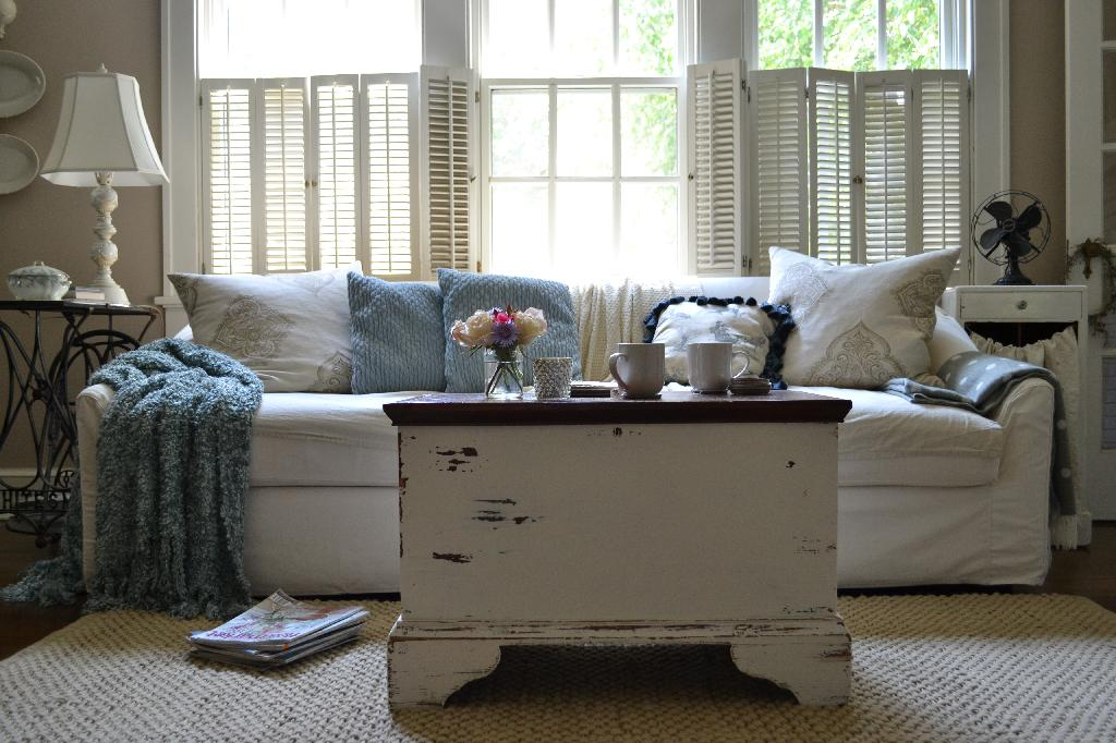 Cottage Fix blog - heirloom trunk painted chippy white