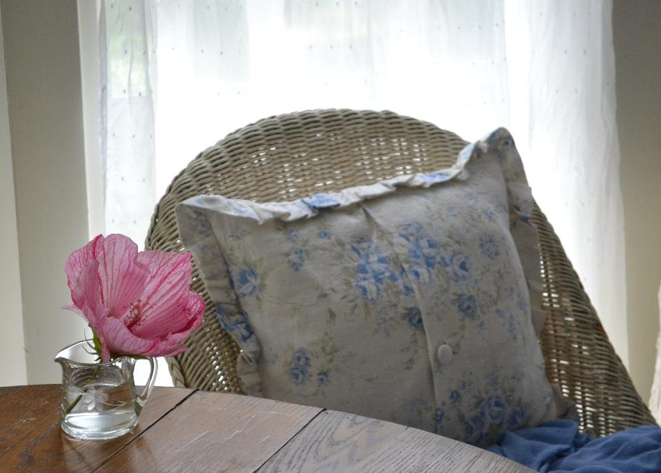 Cottage Fix - pink hardy hibiscus and shabby chic pillow