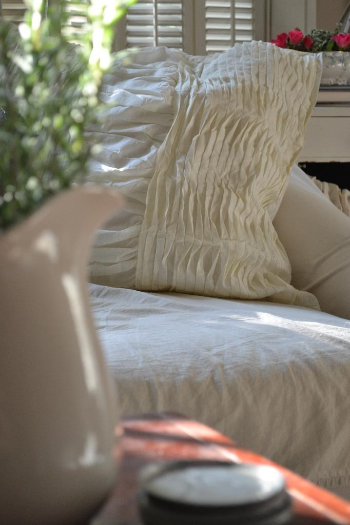 Cottage Fix - cream colored gathered shams