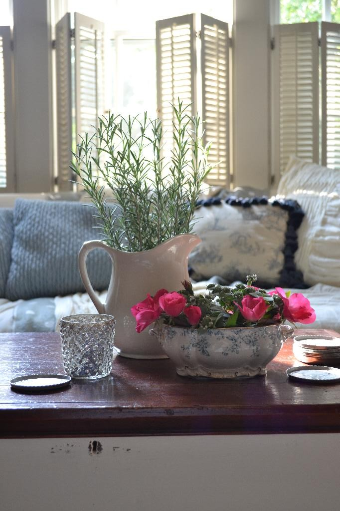 Cottage Fix - blue and white tureen in the living room