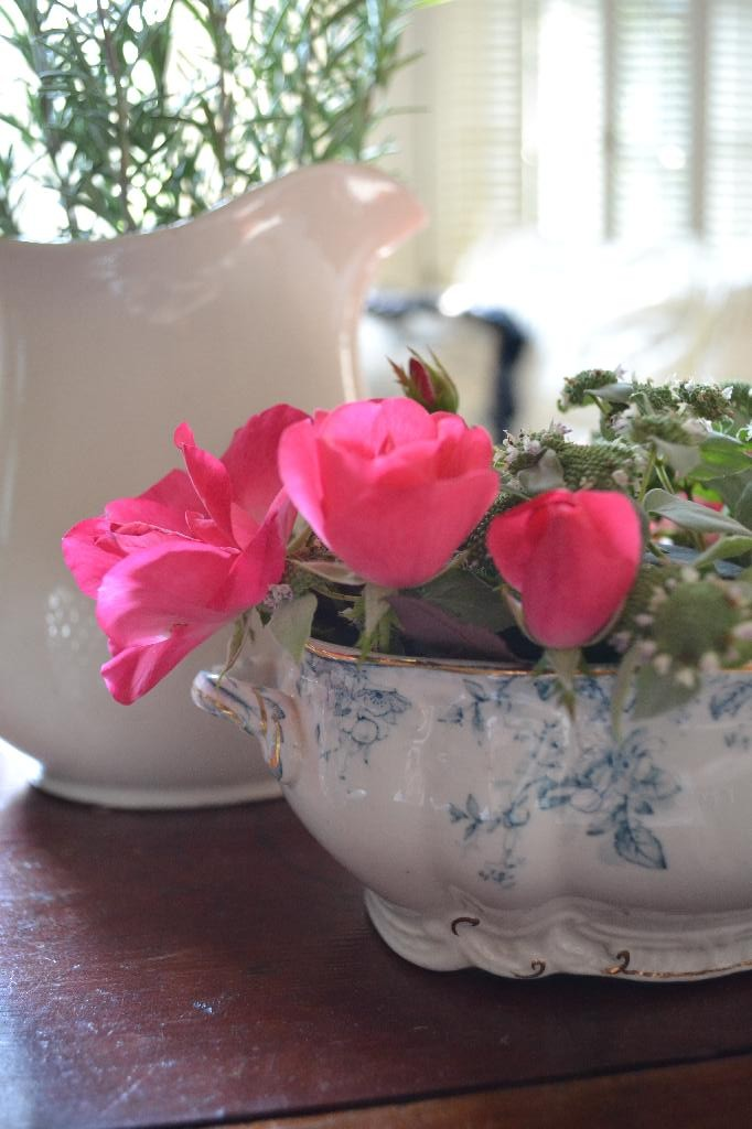 Cottage Fix - blue and white tureen with pink roses and mint