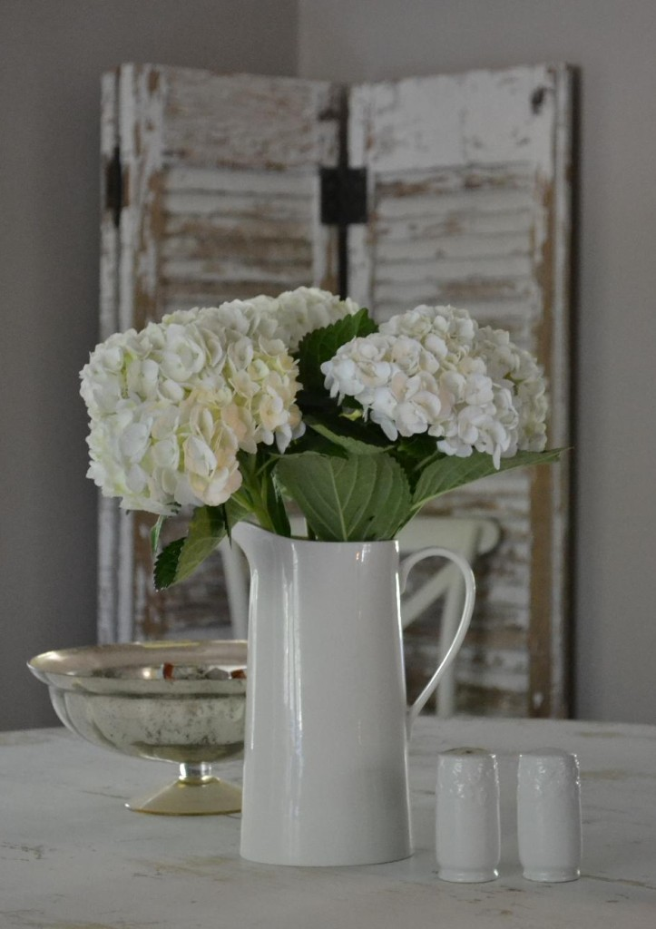 Cottage Fix - white hydrangea bouquet and chippy paint shutters