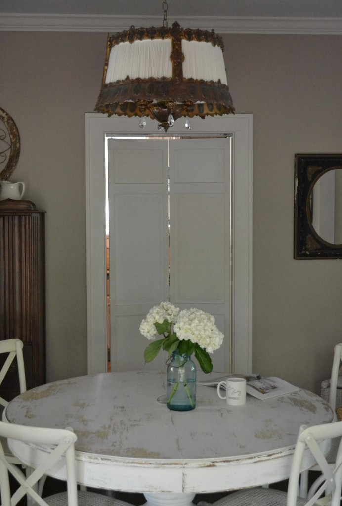 Cottage Fix - chandelier in the dining room