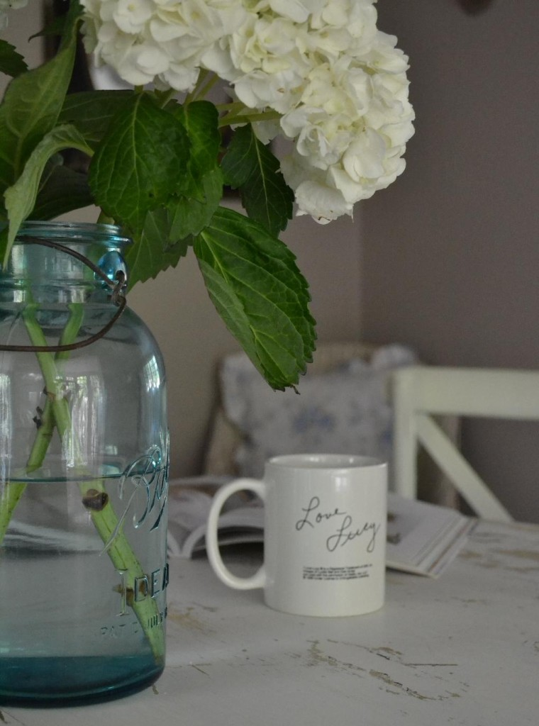 Cottage Fix - white hydrangeas in blue Ball jar