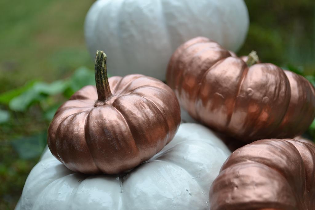 Cottage Fix - shabby chic painted pumpkins