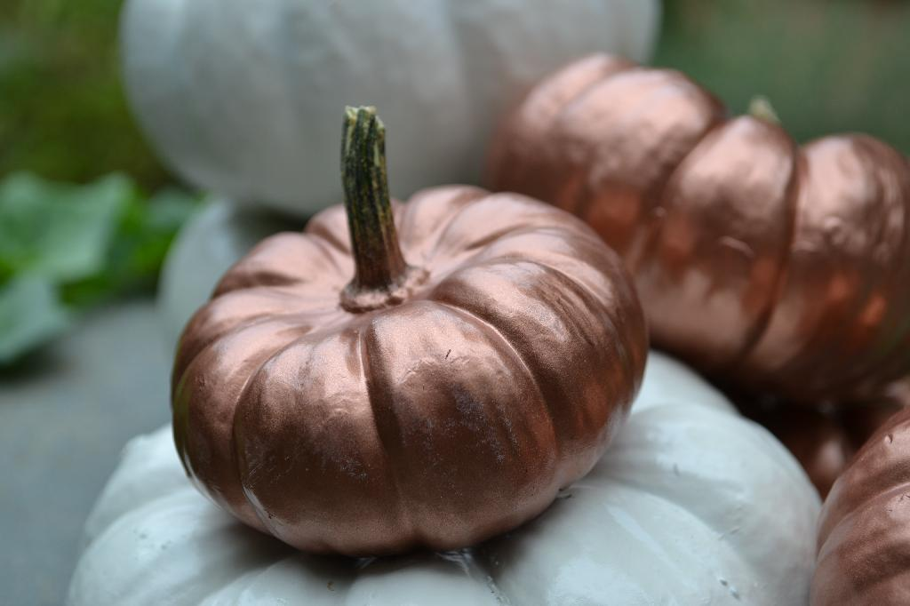 Cottage Fix - metallic rust shabby chic painted pumpkin