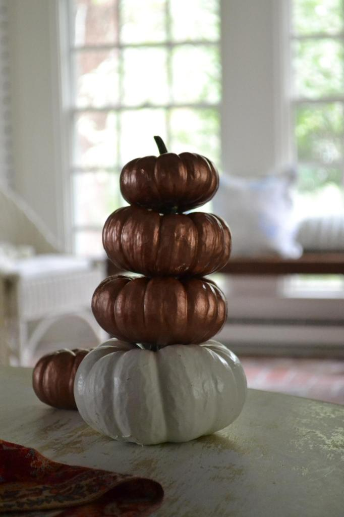 Cottage Fix - shabby chic pumpkins stack