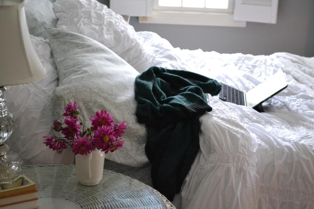 Cottage Fix - shabby chic bed with Ipad and sweater