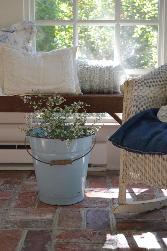 Cottage Fix - vintage rocker and blue bucket