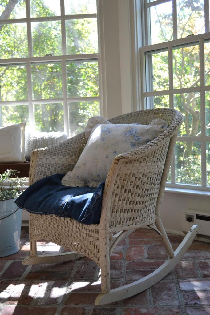 Cottage Fix - a denim euro sham for a seat cushion