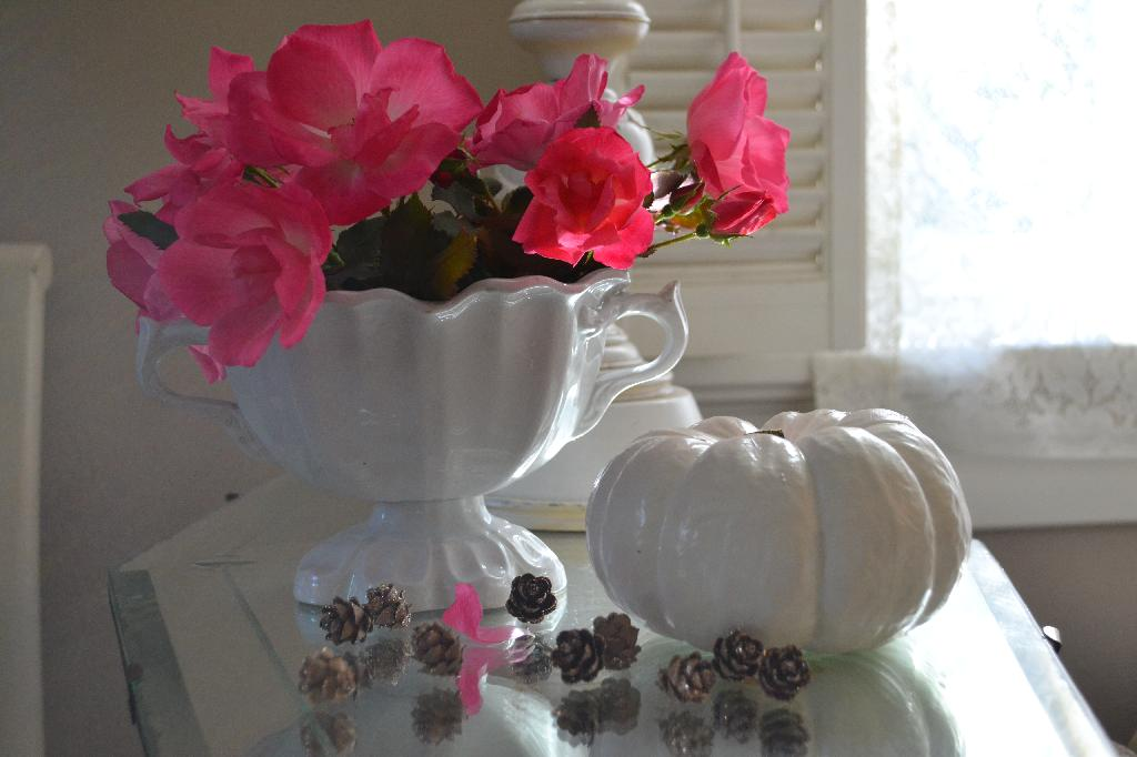 Cottage Fix - ironstone compote, pink roses, and a white painted pumpkin