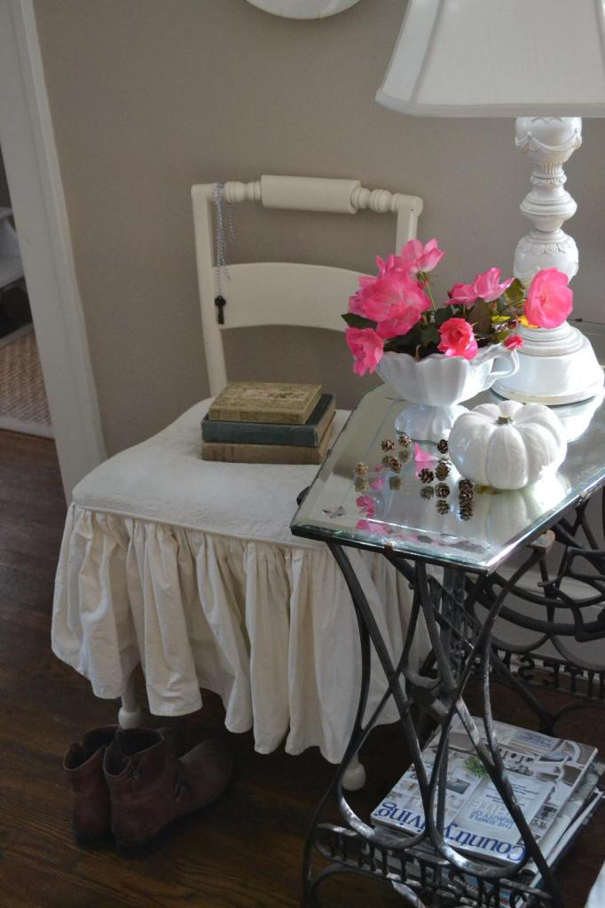 Cottage Fix - white ironstone compote and vintage books from Mary Alice of Chateau Chic