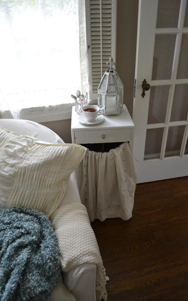 Cottage Fix - the cottage living room with tea and vintage spoons from Mary Alice
