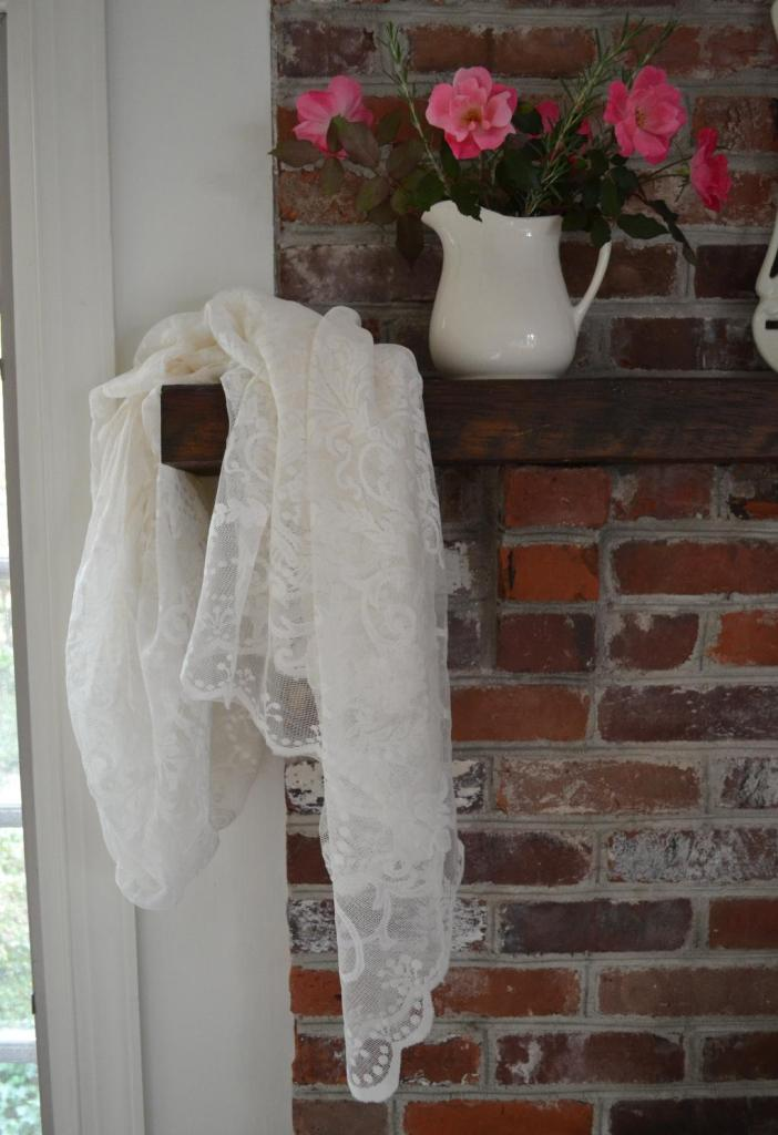 Cottage Fix - roses and lace on our rustic mantle