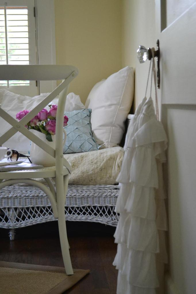 Cottage Fix - dining chair as a bedside table