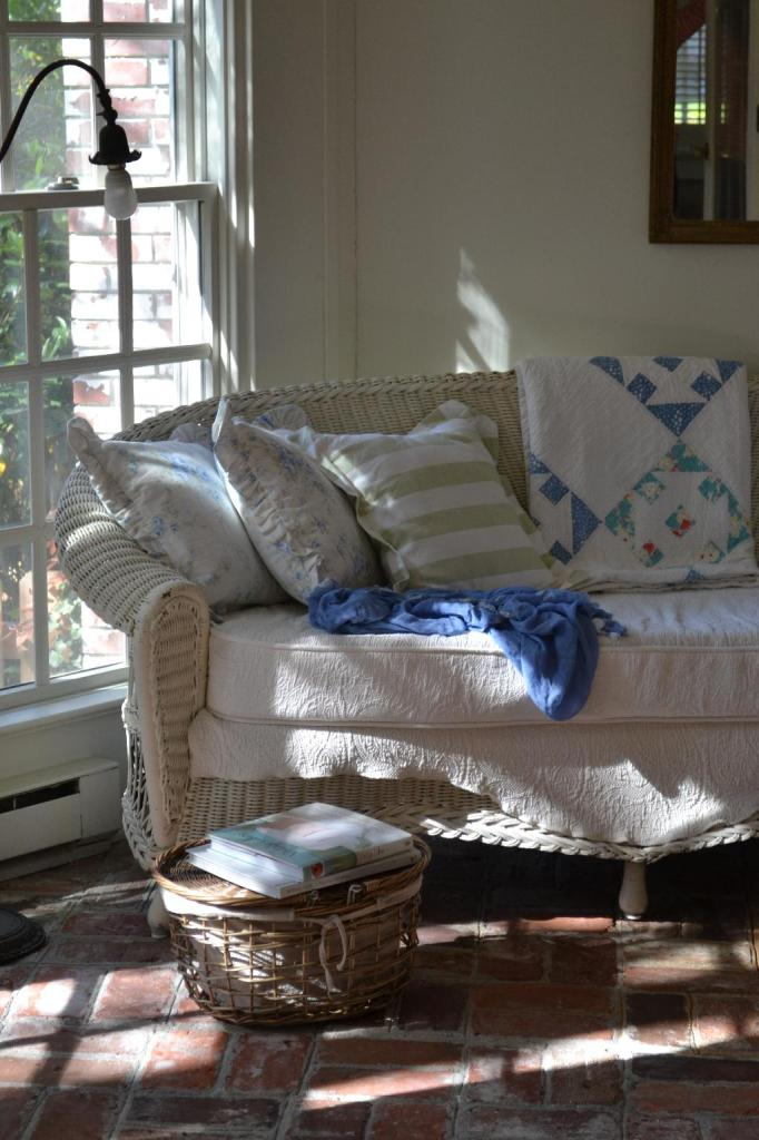 Cottage Fix - blue and turquoise vintage quilt and white wicker