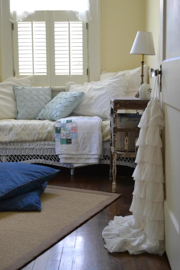 Cottage Fix - colorful vintage quilt in the guest room