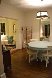 Cottage Fix - at night with robins egg blue table